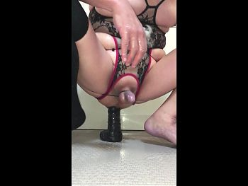 Tied Crossdresser Milking and Peeing with BBD 31-May-2020