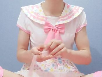 Japanese crossdresser cumshot in pinky cosplay
