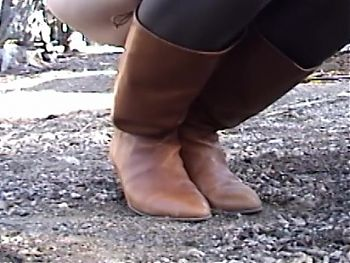 Fucking sexy leather boots outdoors