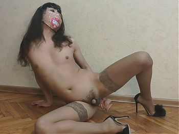 Sissy Playing With Her Big Toy Dildo